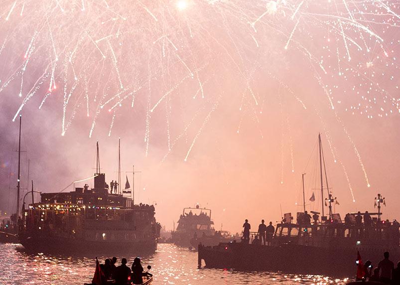 vuurwerk kermis hoorn 2018 op boot kijken