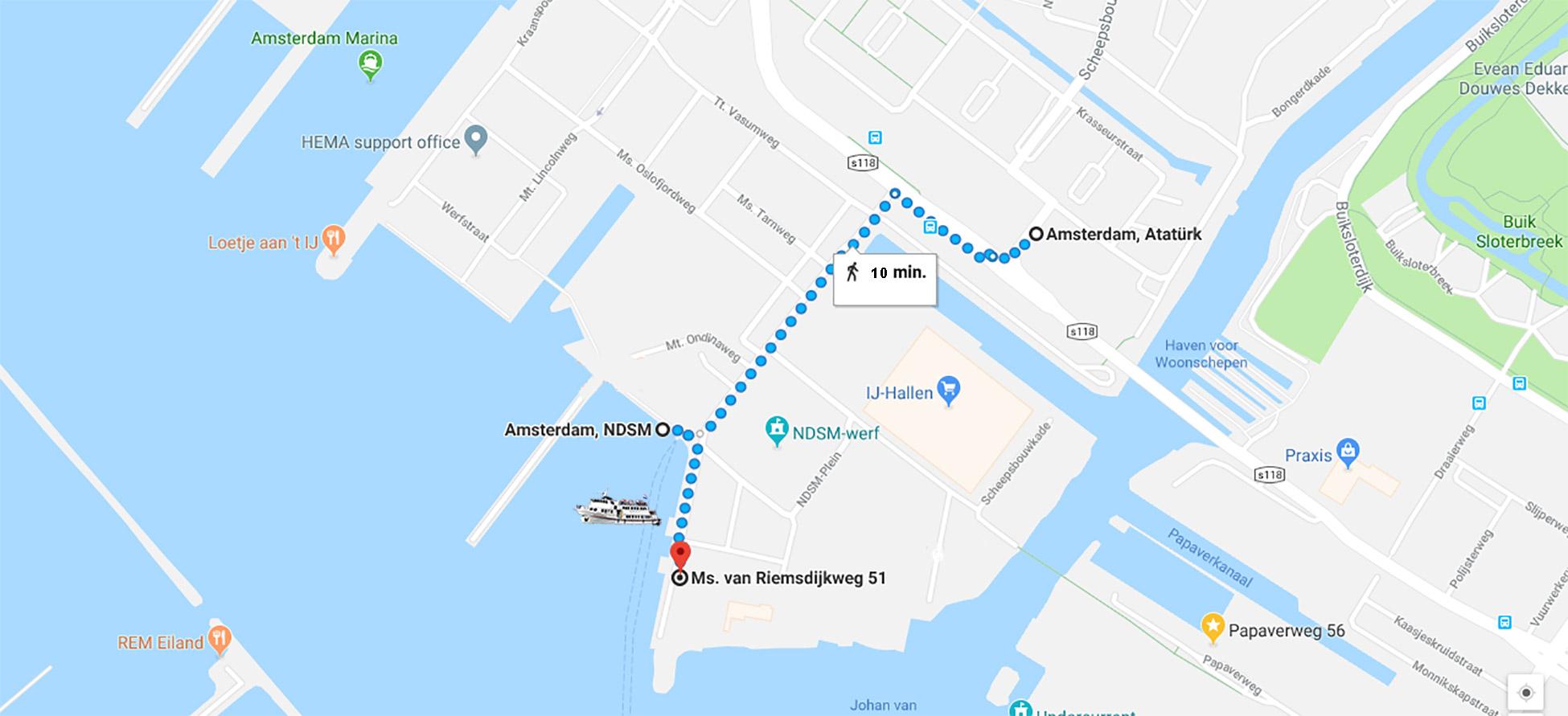 opstapplaats boottochten rederij het ij amsterdam noord