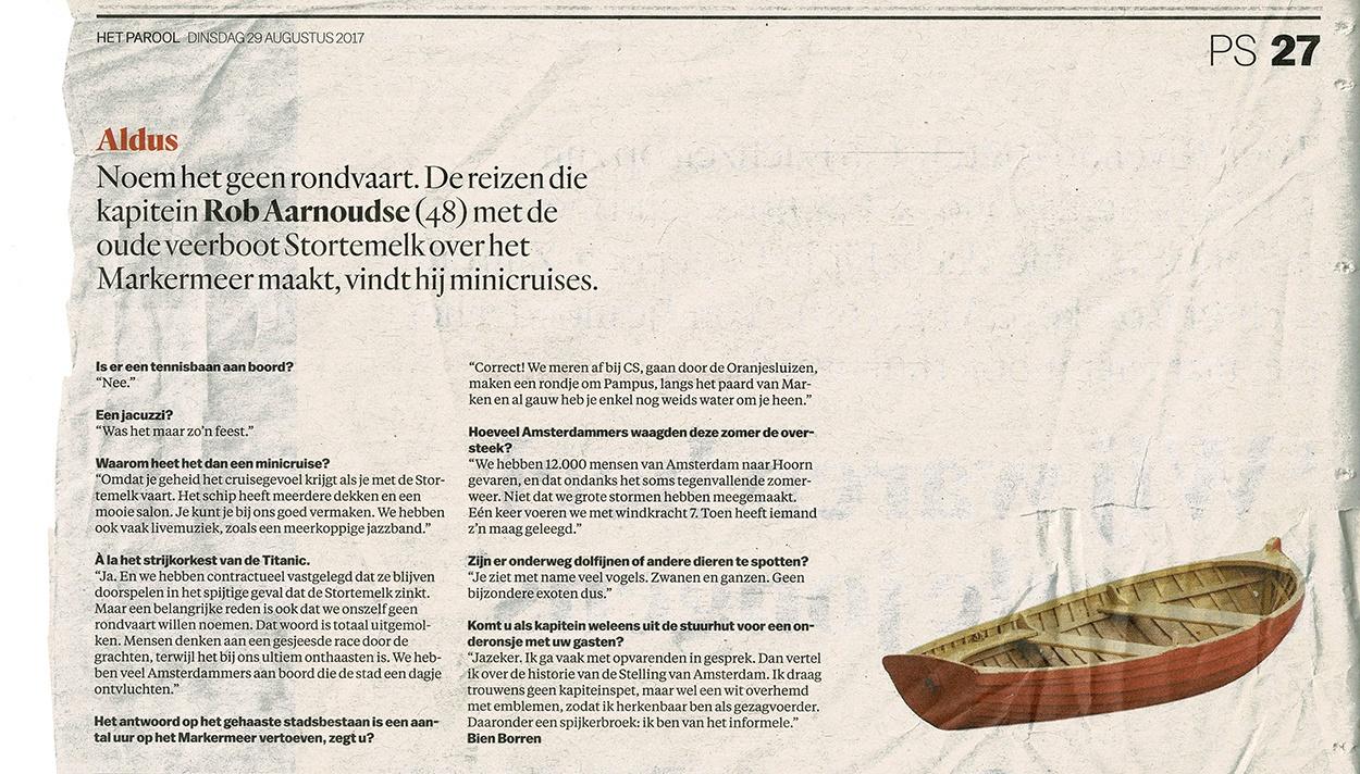 Artikel Parool over Rederij het IJ Amsterdam